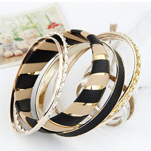 STRIPED BANGLE BRACELET - GOLDEN BLACK