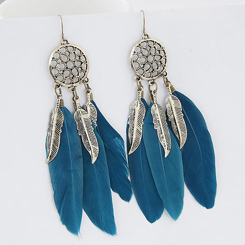 FEATHER EARRINGS - BLUE