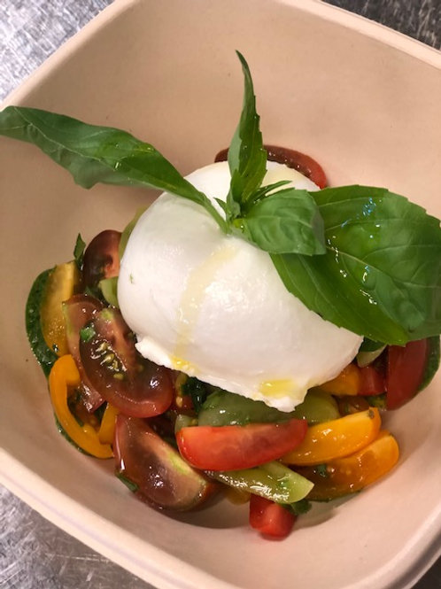 Buffalo mozzarella with mixed tomatoes and basil