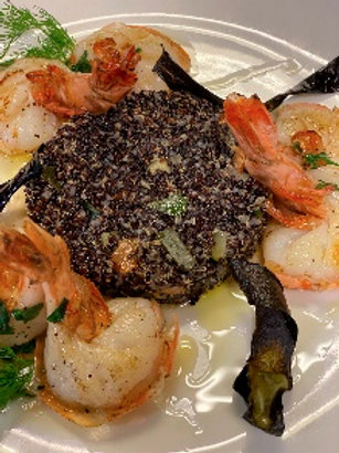 Giant prawns sweet-sour and black quinoa with vegetables