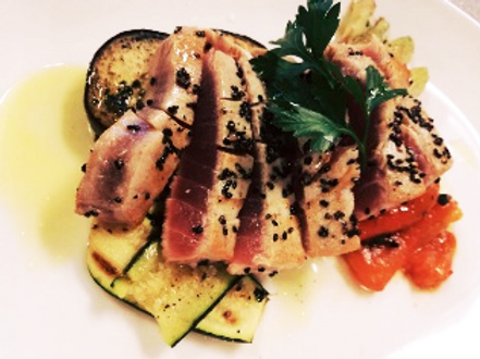 Tuna fillet with grilled vegetables and citronettes