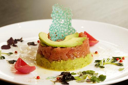 Fresh tuna tartare with avocado and citronette
