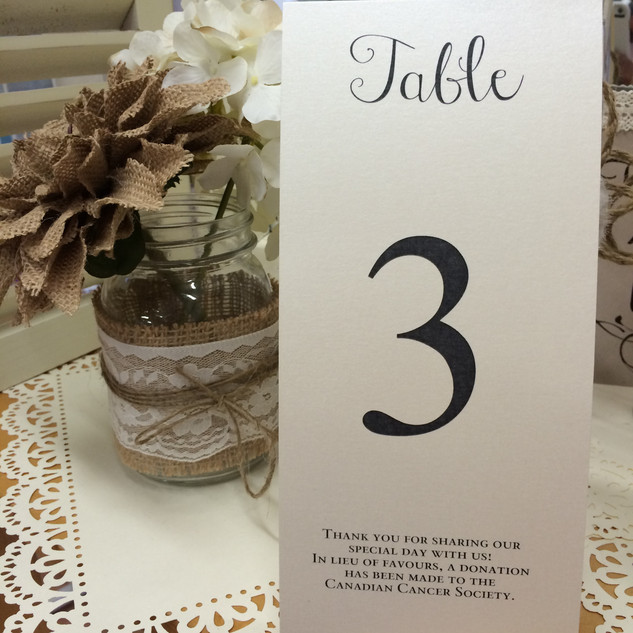 tea length table number