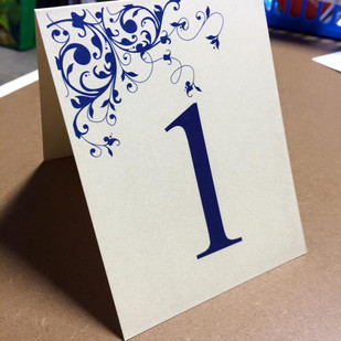 blue table number