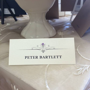 place card with gem