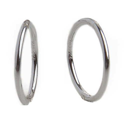 6578b95e75499c Hoops are always in style and these are just the look you need. These 14mm  Sterling Silver Hinged Hoop Earrings have a smooth polished finish that  makes it ...