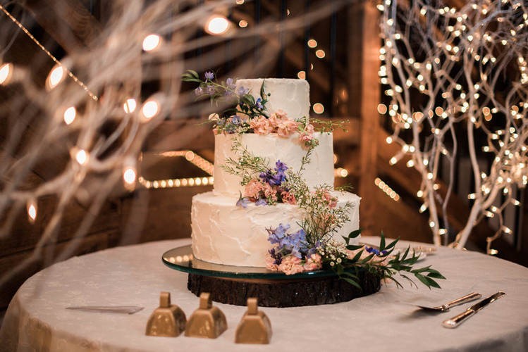 Rough Frosted Floral Wedding Cake