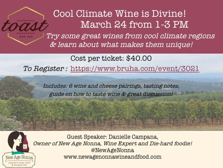 Cool Climate Wine is Divine! Wine Event March 24