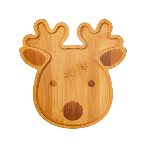 Child's Bamboo Plate Reindeer