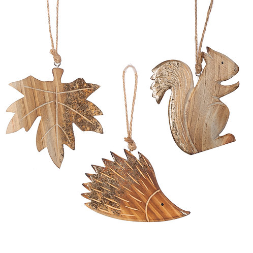 Carved Woodland Christmas Decorations