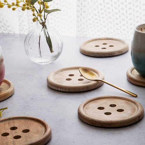 Wooden Button Coasters