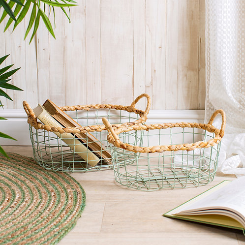 Green Wire Storage Baskets