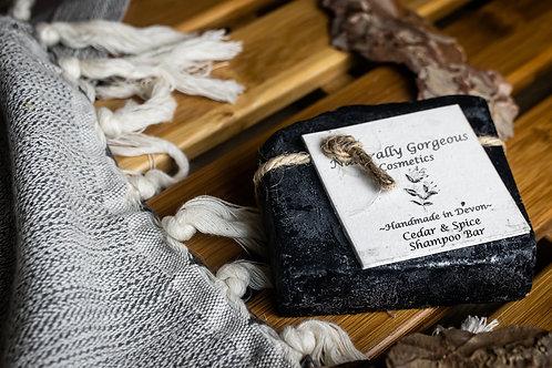 Cedar & Spice Shampoo Bar with charcoal