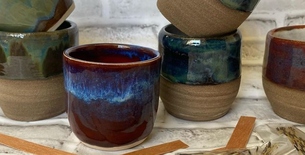 10oz Handmade Pottery Wine Tumbler Spy Candle