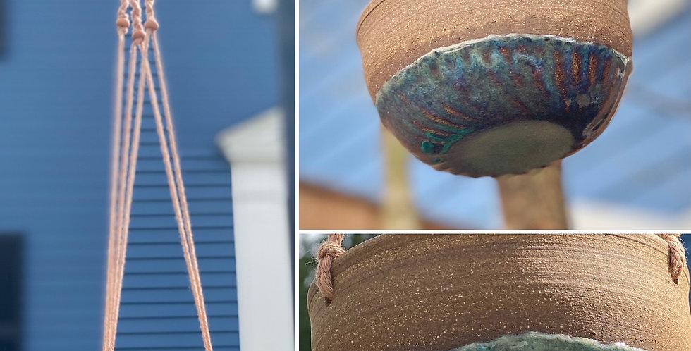 Handmade Pottery/ Macrame Hanging Planter