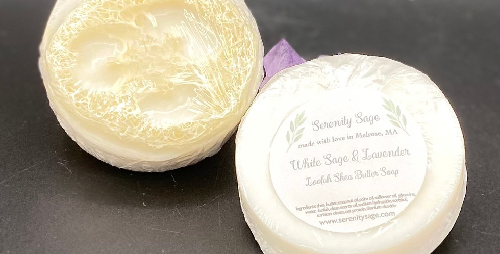 White Sage and Lavender Loofah Shea Butter Soap Bar