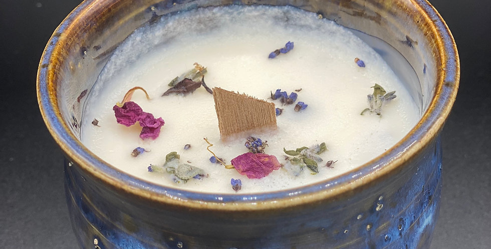 Soy wax Candle in Handmade Pottery