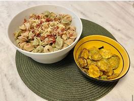 Tortellini al limone e chips de abobrinha