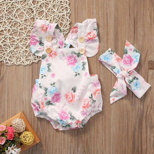 Floral Romper and Head Bow