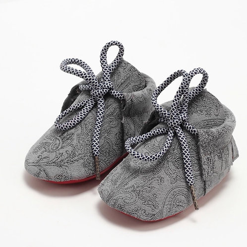 Grey Paisley Suede Moccs