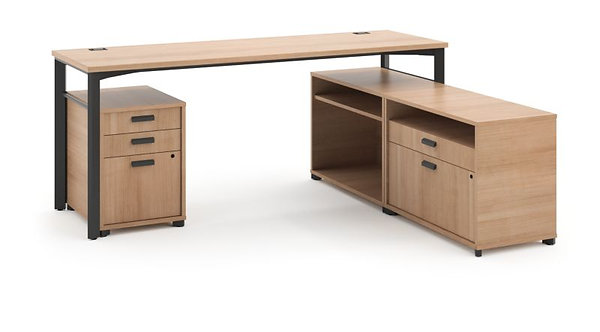 "HON Manage L-Workstation | Desk, 2 File Centers, Pedestal | 72""W x 60""D"