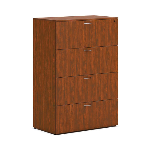 """HON Mod Lateral File   4 Drawers   36""""W   Russet Cherry Finish"""