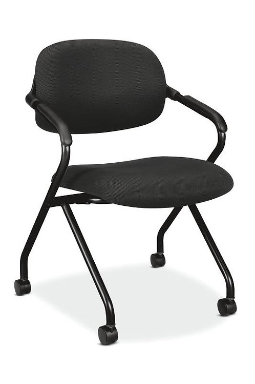 HON Floating Back Nesting Chair | Casters | Black Frame | Black Fabric