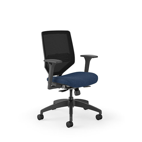 HON Solve Mid-Back Task Chair | Black 4-way stretch Mesh Back | Black Frame