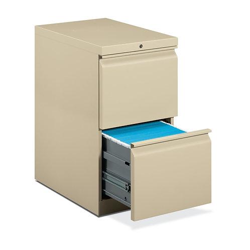 """HON Brigade Mobile Pedestal   2 File Drawers   Radius Pull   15""""W   Putty Finish"""