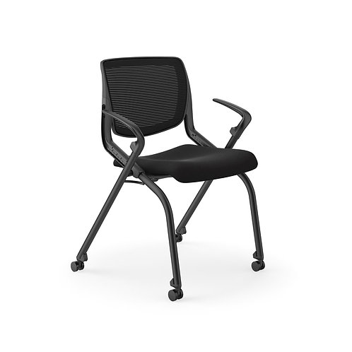 HON Motivate Nesting Stacking Chair | Black 4-way Stretch Back | Fixed Arms