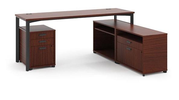 "HON Manage L-Workstation | Desk, 2 File Centers, Pedestal | 72""W x 60""D"