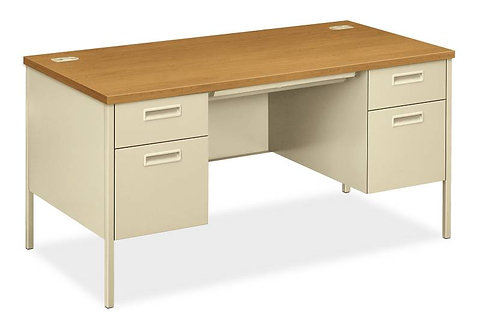 "HON Metro Classic Series Double Pedestal Desk | 2 Box / 2 File Drawers | 60""W"