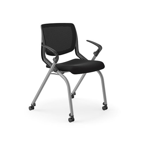 HON Motivate Nesting Stacking Chair   Black 4-way Stretch Back   Fixed Arms