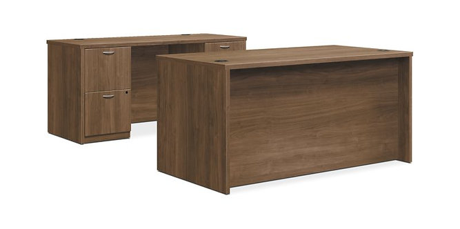"HON Foundation Desk / Credenza | 2 Box / 3 File Drawers | 60""W"