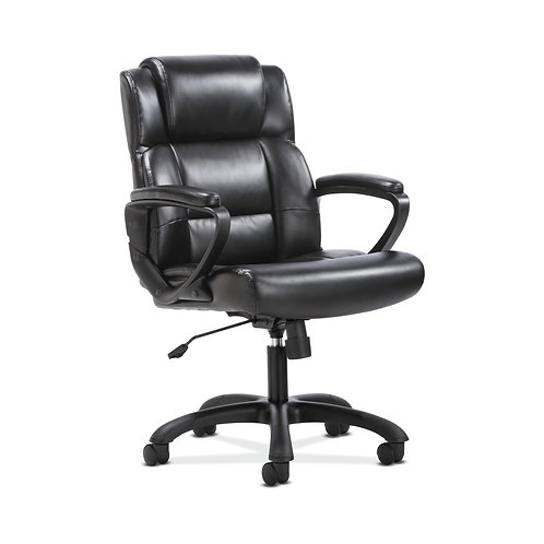 Sadie Mid-Back Executive Chair | Fixed Padded Arms | Black Leather