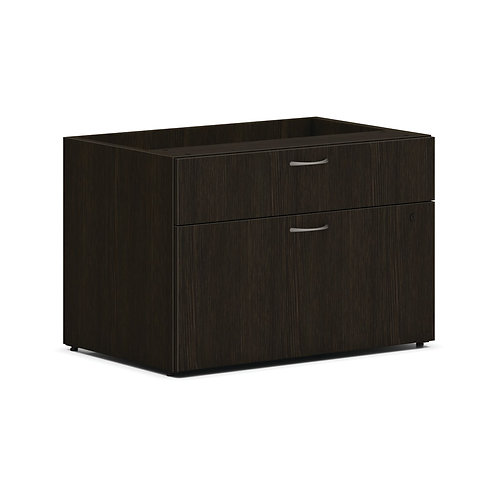 """HON Mod Low Personal Credenza   2 Drawers   30""""W   Java Oak Finish"""