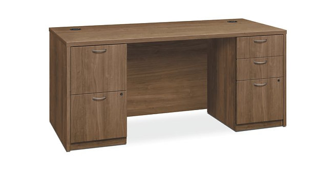 "HON Foundation Double Pedestal Desk | 2 Box / 3 File Drawers | 66""W"