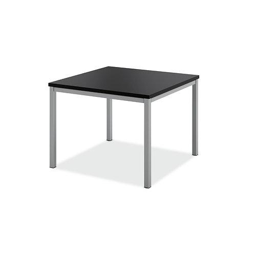 "HON Metal Leg Corner Table | Black Laminate | Silver Frame | 24""W"