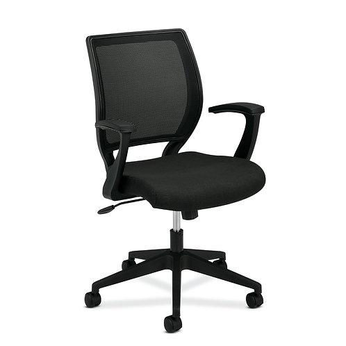 HON Mesh Mid-Back Task Chair   Center-Tilt   Fixed Arms   Black Fabric