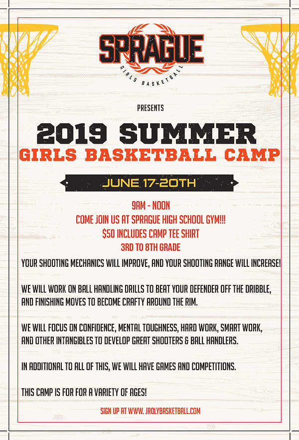 2019 Sprague Youth Girls Basketball Camp