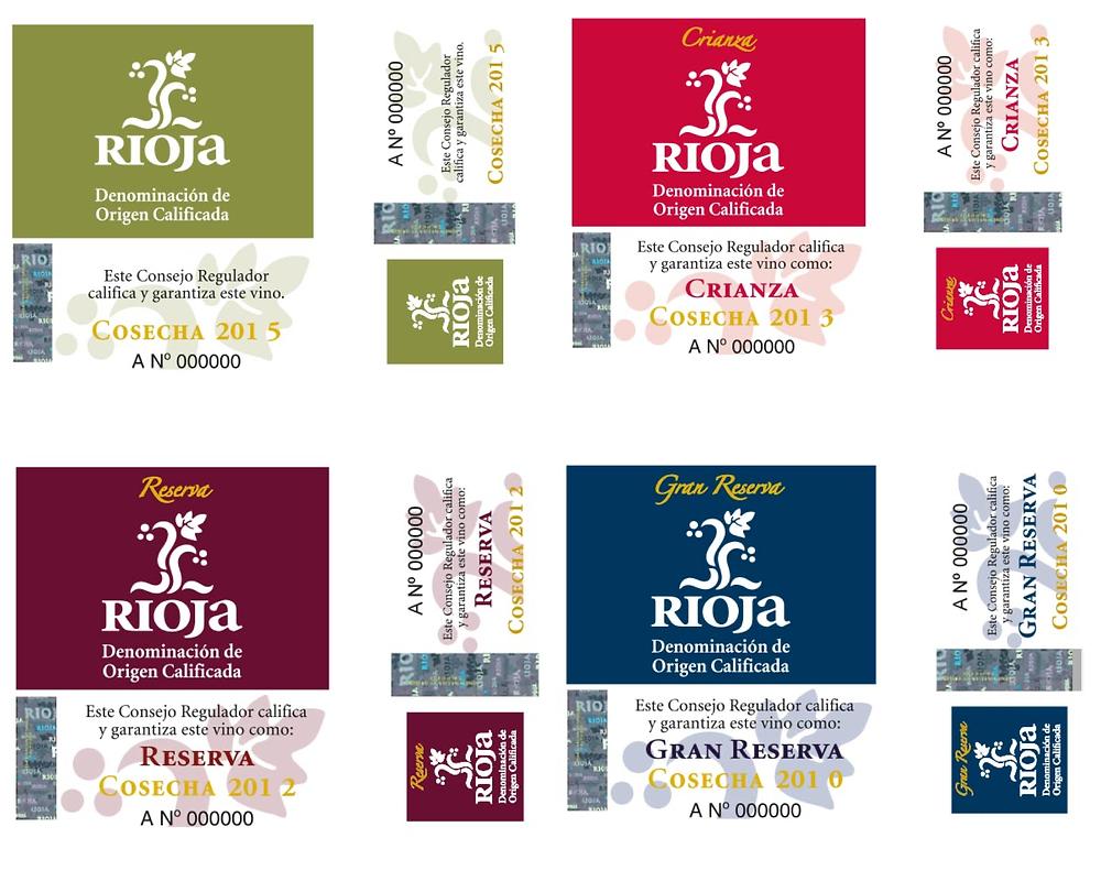 Контрэтикетки Риохи, гарантирующие название по происхождению, год урожая и категорию по сроку выдержки