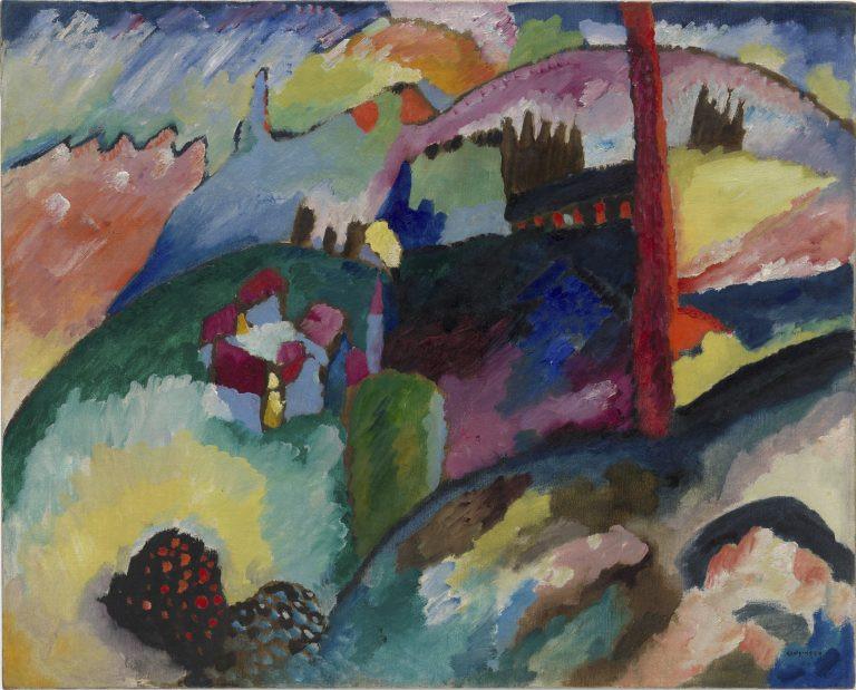 """Картина В.Кандинского """"Пейзаж с фабричной трубой"""" (1910)"""