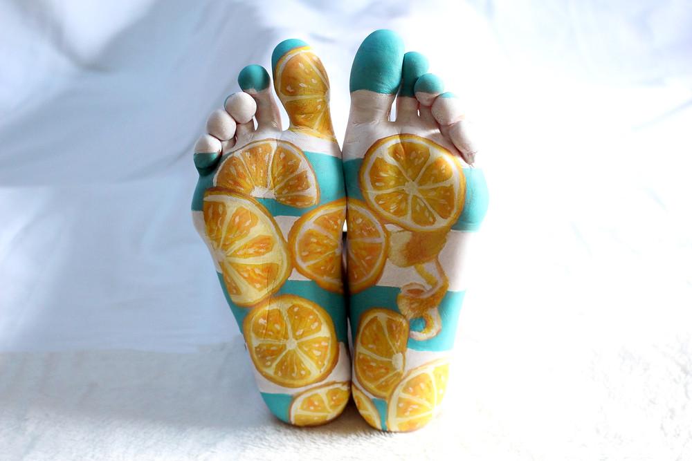 pieds maquillage citron