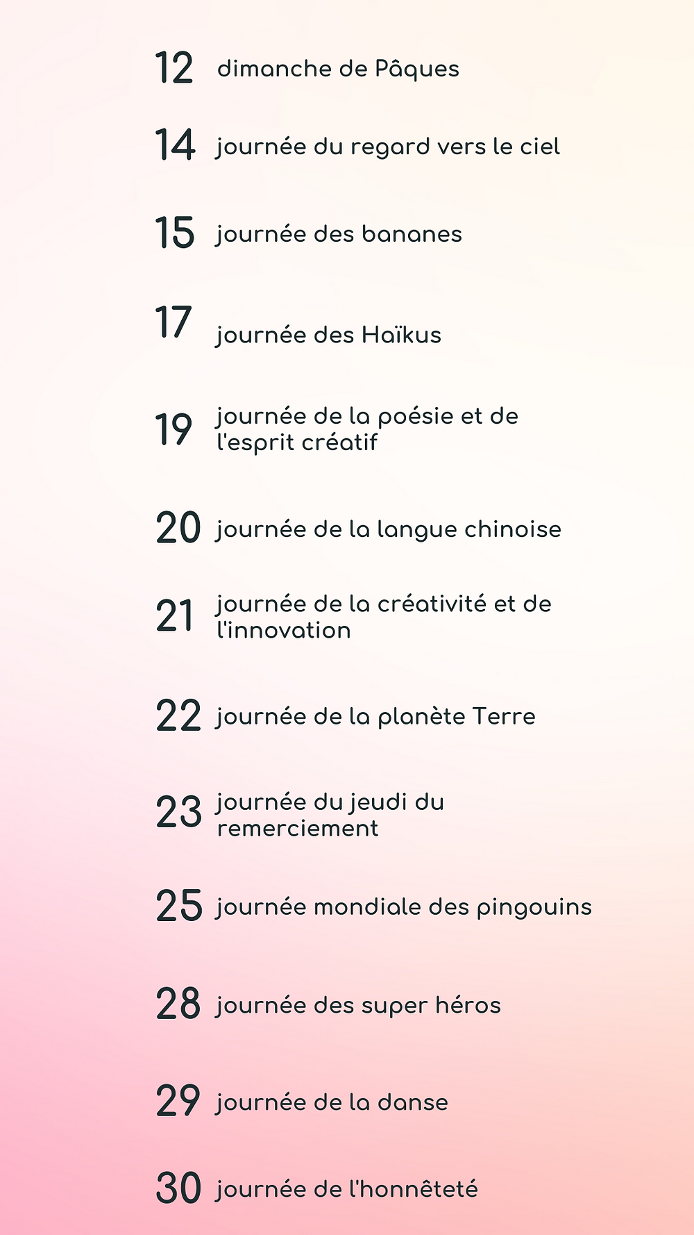 calendrier éditorial avril 2020