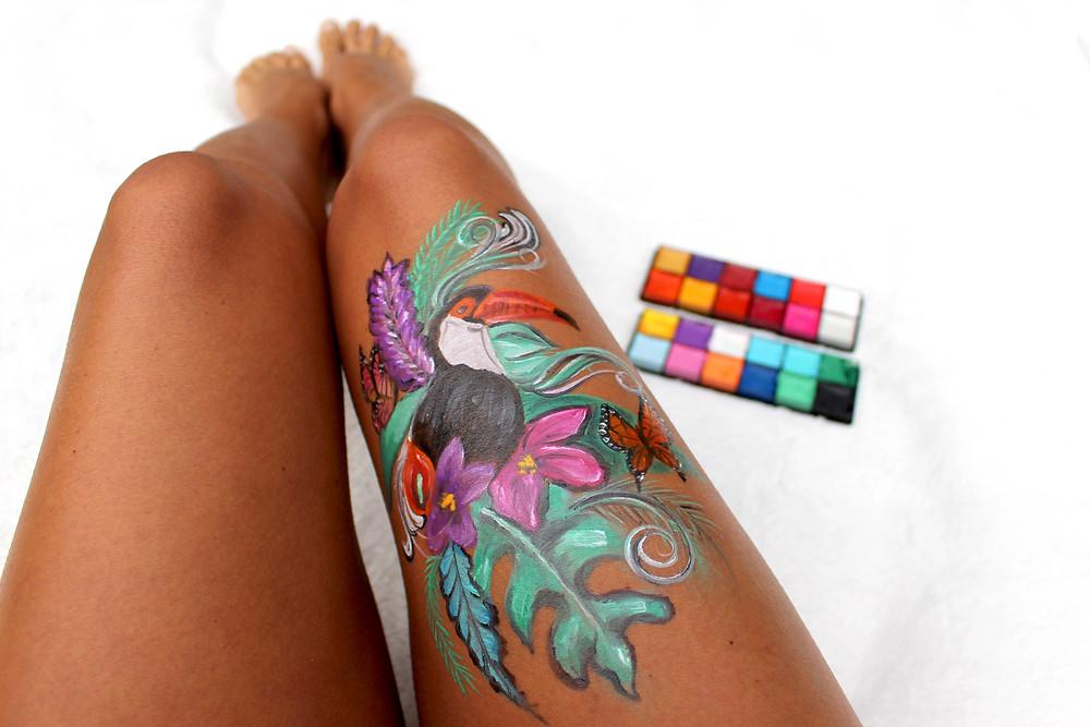 maquillage artistique bodypainting facepainting toucan palette de maquillage