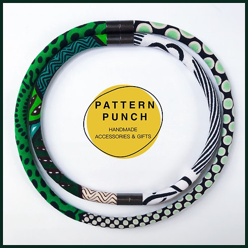 Fabric rope necklace in green and teal with magnetic clasps