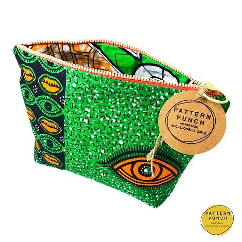 Wax print zip up bag open view