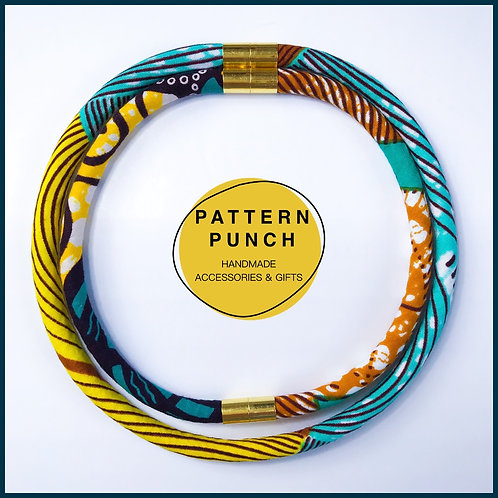 Fabric rope necklace in yellow, teal and brown