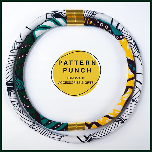 Fabric rope necklace in green, white and black