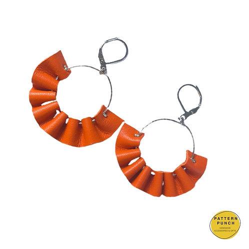 Leather Hoop Earrings - Orange
